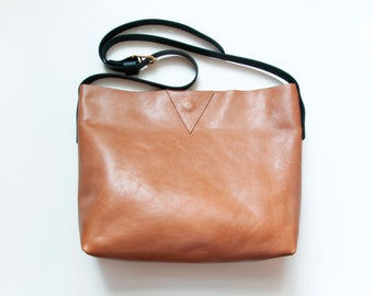 EVA Leather Tote in Camel. Camel and Black Leather Cross Body Purse