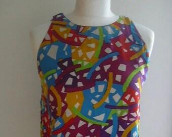 64b67fc19e Missoni Donna Sleeveless Bright Multi-Color Silk Top UK 10-12 US 6-8