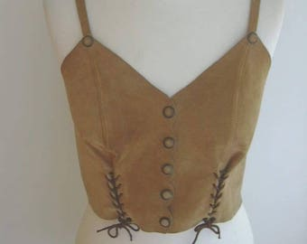 Suede Snap Closure Criss Cross Laces Boho Hippie Wild west Indians Sleeveless Beige Top 1970-80s XS-S