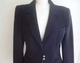State of Claude Montana Navy Blue Jacket Pants Suit UK 10-12 US 6-8