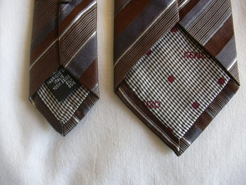 Vintage Kenzo Mocha Brown Anthracite Pearl White Striped Skinny Narrow Silk Neck Tie