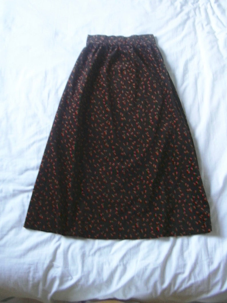 Vintage Floral Velvet Vintage Brown and Orange Maxi Long Skirt XS-Small 1970s