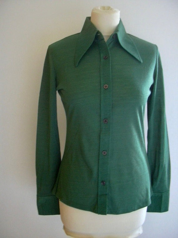 1970s Forest Green Vintage 1970s Acrylic Long Slee