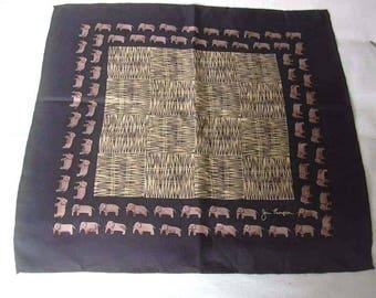 Jim Thompson Elephants Bales of Hay Straw Small Silk Scarf