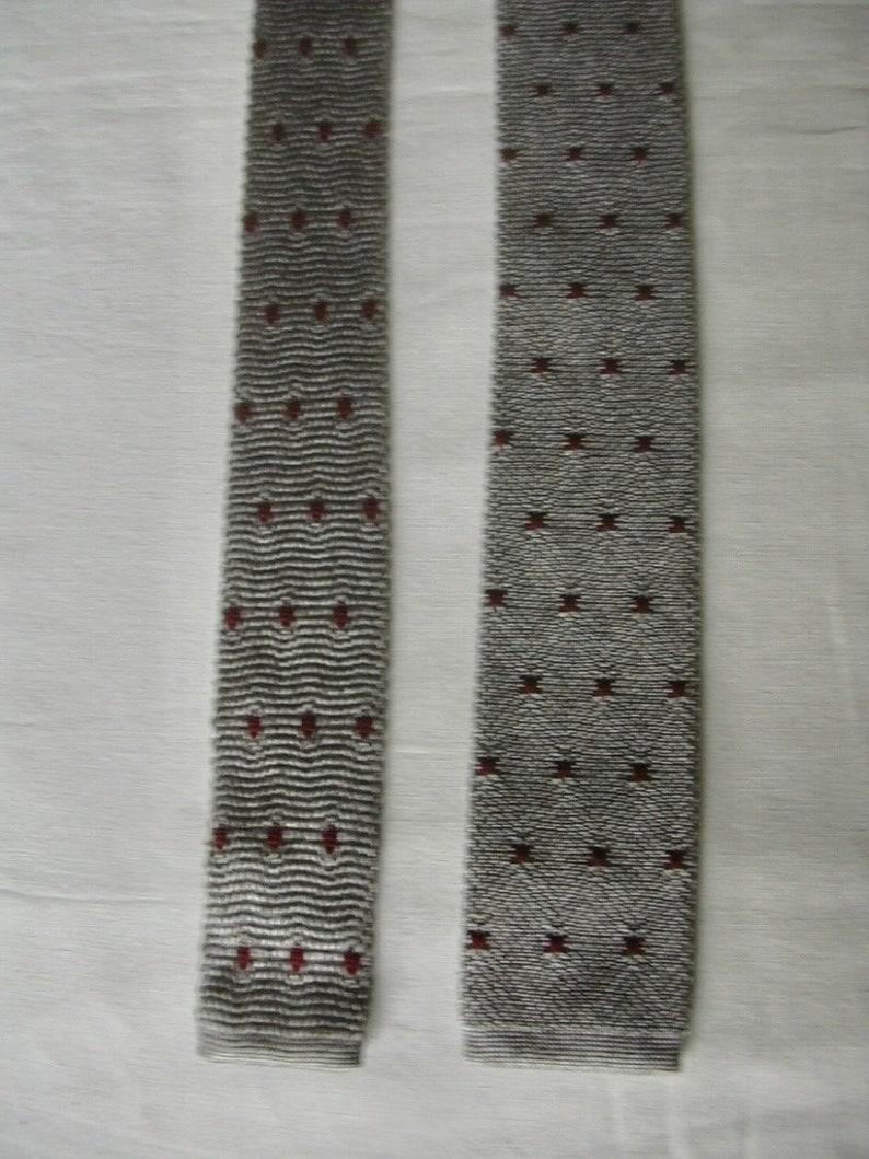 Vintage Kenzo Silver Gray Burgundy Polka Dot Knit Sock Skinny Silk Neck Tie