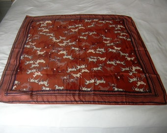 Vintage Horses and Polka Dots Rust Brown Blue and White Polka Dot Polyester Scarf