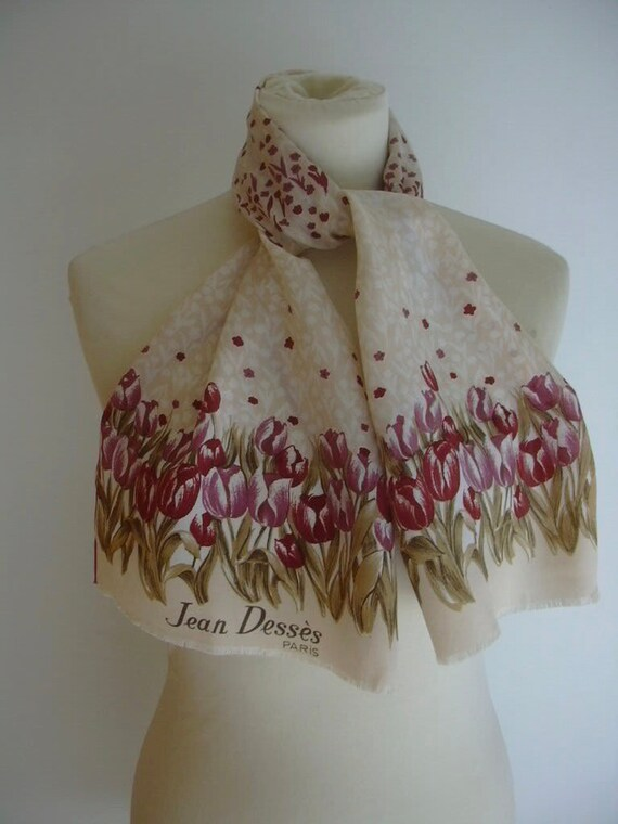Jean Desses Tulips Raspberry Pink Blush Nude Flora