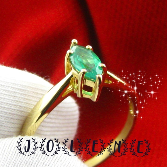 18k solid gold stackable ring emerald ring natural