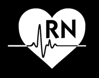 rn vinyl decal registered nurse decal rn decal car decal etsy