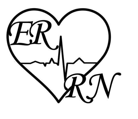 er rn nurse vinyl decal emergency room nurse nurse decal etsy Emergency RN Logos 50