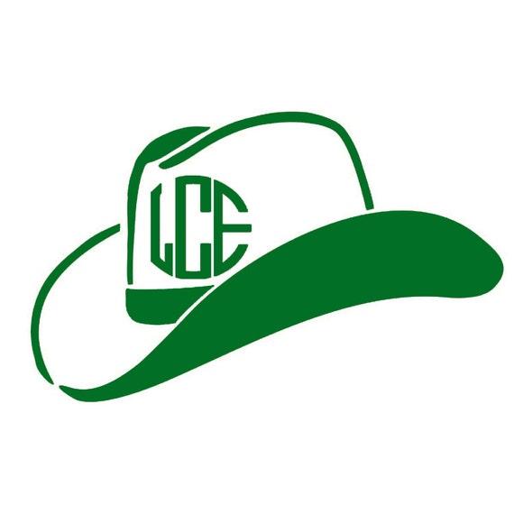 Monogram Cowboy Hat - Monogram Cowgirl Hat - Cowboy Hat Vinyl Decal - Cowboy  Cowgirl Decal 7a0b7ed5cdc