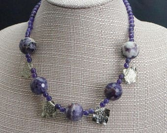 Purple Agate, Amethyst, and Hammered Sterling Silver