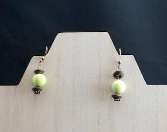 Green Howlite and Wood Earrings