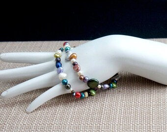 Mixed Freshwater Pearl Double Strand Bracelet