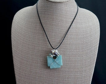 Blue Agate and Freshwater Pearl Pendant