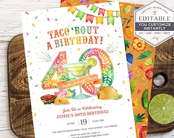 40th Birthday Invitation, 40th Birthday Fiesta Invite, Taco Birthday Party Invite, 40th Birthday Party Invite, DIY, Printable, Corjl, A24