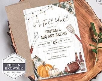 Football Party Invitation, Fall Football Party Invitation, Football Couple's Shower Invite, Tailgate Invite, DIY, Printable, Corjl, A22, GP