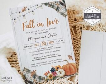 Fall Bridal Shower Invitation, Fall Harvest Couple's Shower Invite, Autumn Wedding Shower, Fall in Love Invitation, DIY Printable, Corjl, GP
