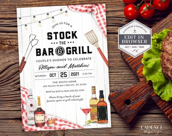 Stock the Bar and Grill Couples Shower Invitation, Bar & Grill Couples Shower Invitation, BBQ Couples Shower Invite, Printable, Corjl, Q2