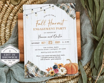 Fall Engagement Party Invitation, Fall Harvest Couple's Shower Invite, Autumn Engagement Party, Barn Party, DIY, Printable, Corjl, GP