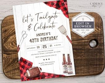 Tailgate and Celebrate Invitation, Football Birthday Party, Tailgate Birthday Invite 30th, 40th, 50th, 60th, Buffalo Plaid, Printable, Corjl