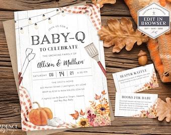 Fall Baby-Q Shower Invitation, BBQ Baby Shower Invitation, Autumn Couples Baby Shower Invite, Gender Neutral Shower, Printable, DIY, FQ2
