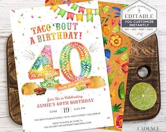 40th Birthday Invitation, 40th Birthday Party Invite, Taco Birthday Party Invite, 40th Birthday Fiesta Invite, DIY, Printable, Corjl, A24