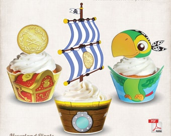INSTANT DOWNLOAD, Printable Jake and the Neverland Pirates Cupcake Toppers & Wrappers, Digital File, Skully, Bucky, Treasure Chest