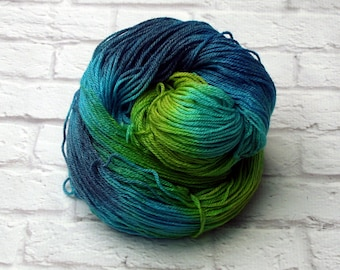 "Hand-dyed Sock Yarn, Panda (Superwash Merino, Bamboo and Nylon) - ""Forget Me Not"" 4 ounces"