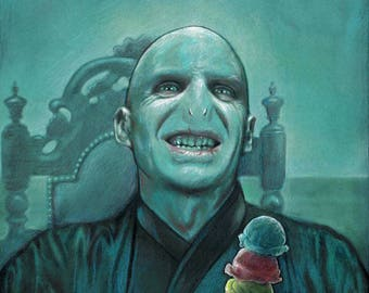"HARRY POTTER Voldemort Gets Ice Cream 11""x 14"" Harry Potter Giclee Art Print Internet Meme JK Rowlings"