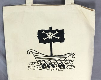 Pirate, Tote, Ship, Pirate Ship, Funny Tote, Pirate Bag, Skull and Crossbones