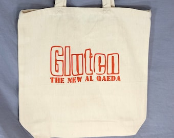 Funny Tote Bag, Tote Bag, Gluten The New Al Qaeda, Gag Gift, Grocery Bag, Wrapping Paper