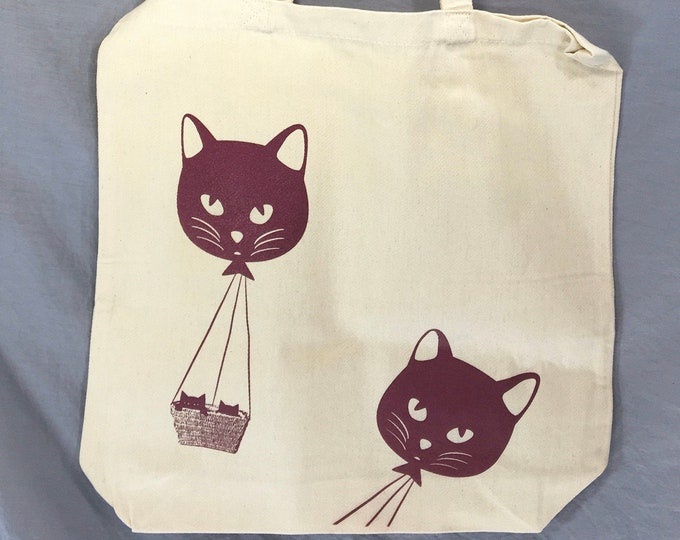 Tote Bag, Cat, Kitty, Cat Balloon, Funny Tote Bag, Whimsical, Cat Bag, Kitty Bag