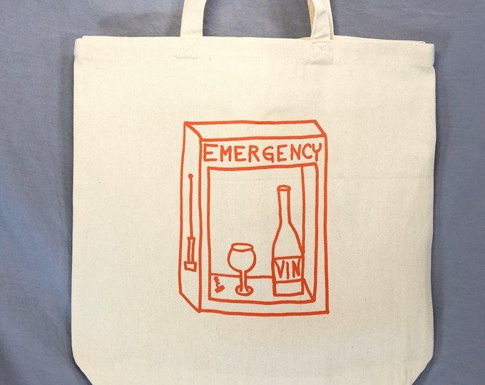 Funny Tote Bag, Wine Bag, Wine, Funny Wine Bag, Grocery Bag, Vin, Vino, Emergency