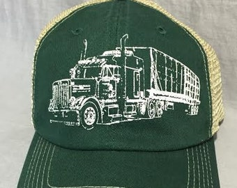 Truck on a Trucker Hat, Screen Print, Forest Green