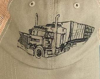 Trucks On A Trucker Hat, 18 Wheeler, Truck, Screen Print by Hand
