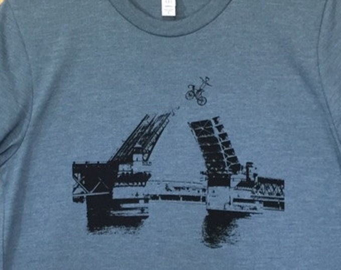 Bike Shirt, Bridge, Portland, Oregon, Men's T Shirt, Portland Shirt, Burnside Bridge