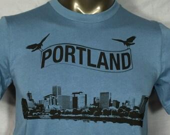Portland Skyline, Portland TShirt, Crows,Mens Shirt