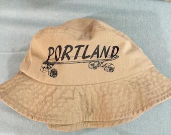 Portland Skateboard Bucket Hat - Beige, Tan, Tourist Hat