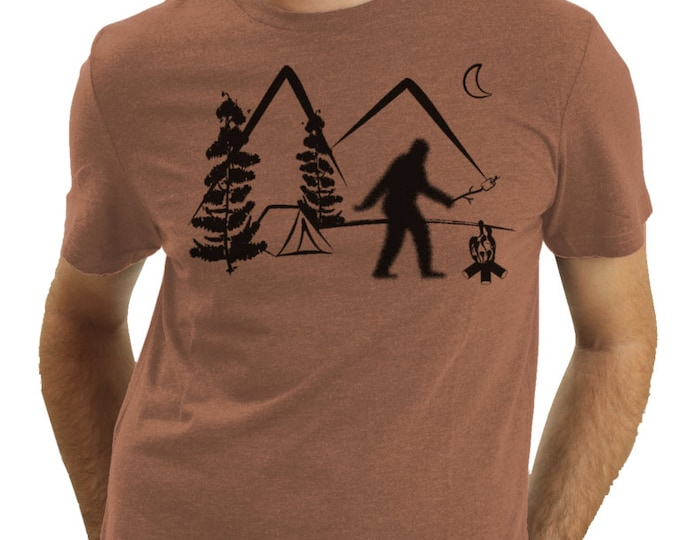 Bigfoot On Vacation, Sasquatch Camping, Squatch, Bigfoot Roasting A Marshmallow, Funny T Shirt