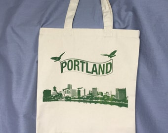Portland Tote, Crow, Bird, Skyline, Grocery Bag, Shopping Bag, Reusable Bag