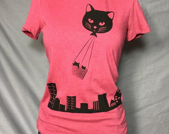 Kitties over Portland, Woman's Tee Shirt, Cat T-Shirt, Kitty Shirt, Hot Air Balloon, Cat Balloon,