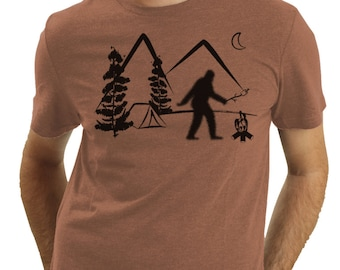 Bigfoot On Vacation, Sasquatch Camping, Squatch, Bigfoot Roasting A Marshmallow, Funny T Shirt