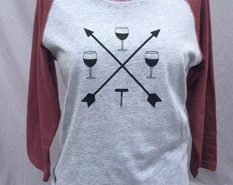 Baseball T Shirt, Long Sleeve, Vino, Wine, Crossed Arrows