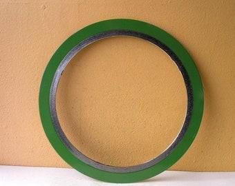 "Large metal ring, 14.5"" round frame, salvaged spiral gasket, diy mirror frame, mobile supply, artist gift industrial wall decor"