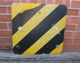 Real street sign, caution sign, metal traffic sign, black & orange stripes