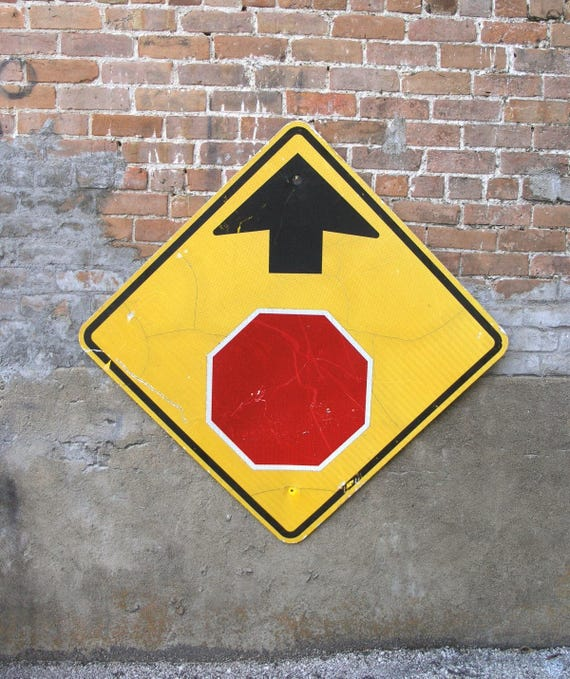 36X36 Real street sign stop ahead diamond shape warning | Etsy
