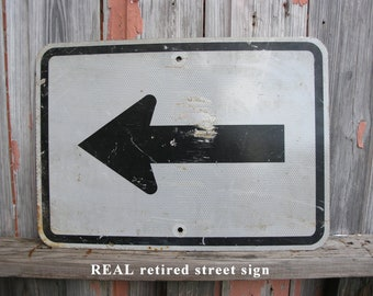 Real street sign, black & white, arrow sign, auto theme wall, yard party directional signage