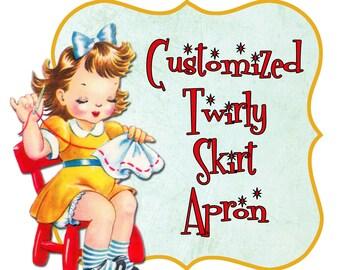 "Customized Twirly Skirt Apron (Circle Skirt Apron) choose your own fabric, sweetheart bib, flirty pin up apron, ""one size"""