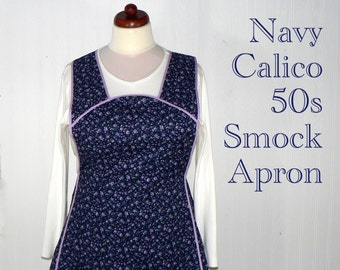 """Navy Calico 50s Smock Apron, vintage-style all day work apron, """"h-back"""" style doesn't touch neck, made-to-order XS to Plus Size"""